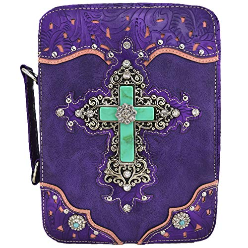 Western Style Bling Rhinestone Cross Country Women's Bible Cover Books Case Removable Strap Messenger Bag (Purple) ()