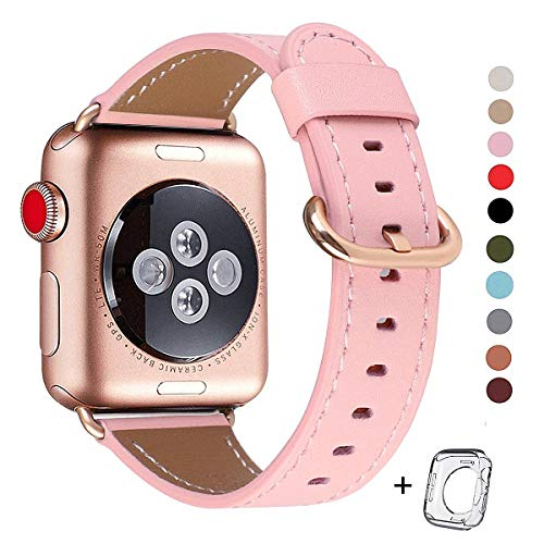 (Compatible iWatch Band 38mm 40mm, Top Grain Leather Band Replacement Strap iWatch Series 4,Series 3,Series 2,Series 1,Sport, Edition (Pink+ Rose Gold Buckle, 38mm40mm))