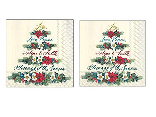 Christmas Holiday Disposable Party Supplies (Luncheon Napkins, Joy-Love-Peace)