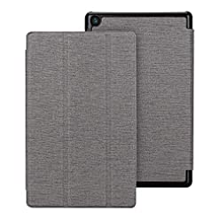 Foluu All-New HD 8 Tablet Case (8th/7th Generation, 2018/2017 Releases), Slim Lightweight with Trifold Stand Smart PU Case Cover Also For HD8 6th Gen 2016 Tablets (Gray)