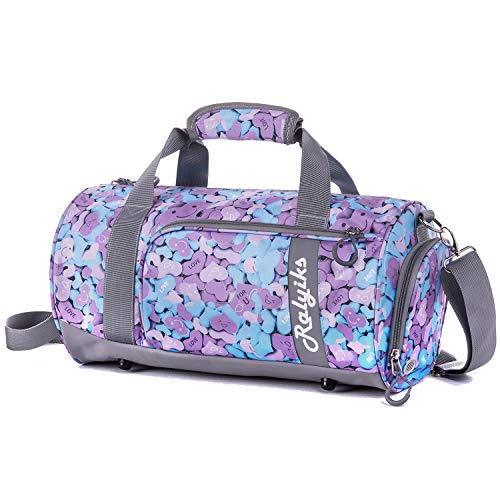 Waterproof Sports Gym Bag with Shoes Compartment Travel Duffel Bag (Romantic purple, Small) -