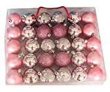 24pcs Shiny Christmas Balls Ornaments Sets Christmas Decor Ornaments Christmas Hanging Christmas Balls (Pink)