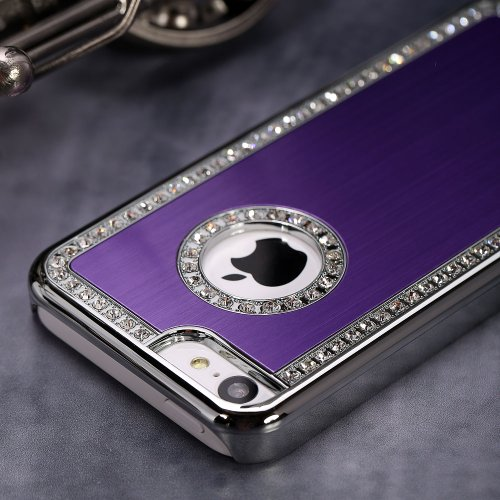 Posh Style Iphone 5/5S Deluxe Purple brushed aluminum diamond case bling cover for iphone 5/5S