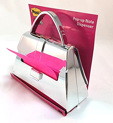 Post-it (TM) Chrome Purse Shaped Pop Up Notes Dispenser (PD-654-Chrome) - Star Shaped Sticky Notes