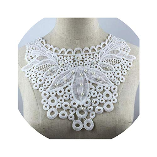 Lace Fabric Trim Sew On Dress Clothing Applique Motif Blouse Sewing Embroidery DIY Neckline Collar Costume Decoration,4