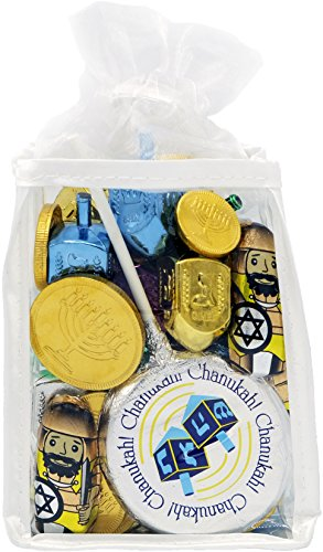 Hanukkah Gift Set Of Dreidels, Chocolate Gelt Coins, And Chocolate Lollipop, For Chanukah In Adorable Dreidel Shaped Keepsake Bag (Hanukkah Lollipop)