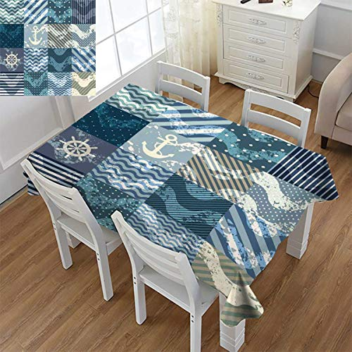 """Angoueleven Nautical,Dinner Picnic Table Cloth,Marine Theme Wave Patterns in Patchwork Style Boxes Squares Striped Anchor Print,Waterproof Table Cover for Kitchen,Blue Beige,Size:60""""x60"""""""