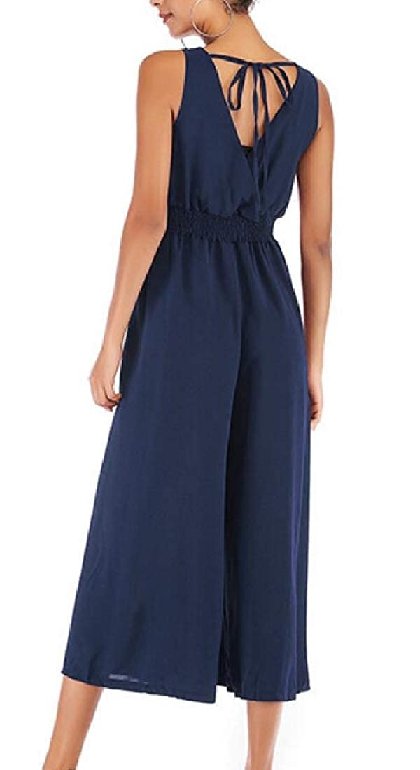 Sweatwater Womens V Neck Ankle Tie Pleated Backless Sleeveless Breathable Chiffon Playsuit Jumpsuits