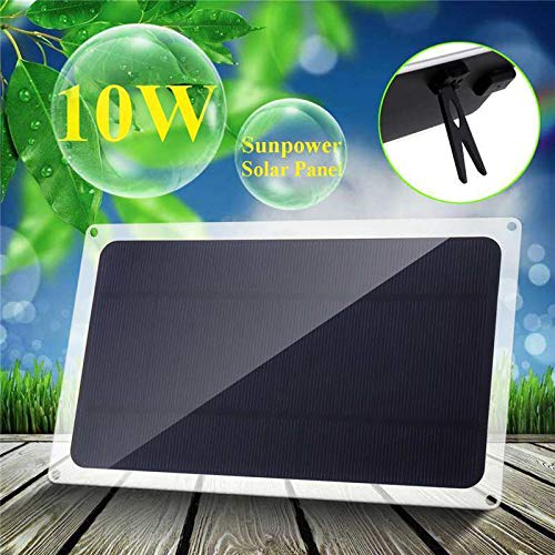 (Solar Panel 5V 10W Solar Panel for Outdoor Camping Emergency Light Waterproof+Carabiner+4X Suction Cup)