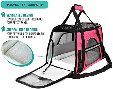PetAmi Premium Airline Approved Soft-Sided Pet Travel Carrier by Ventilated, Comfortable Design with Safety Features | Ideal for Small to Medium Sized Cats, Dogs, and Pets 5