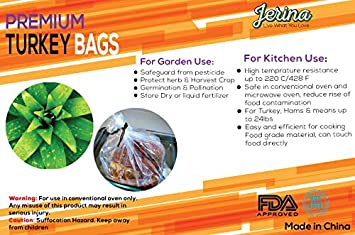 Amazon.com: Jerina Premium Turkey Oven Bags Nylon Home And Garden Bags-(19 x 23.5 inches) (25): Kitchen & Dining