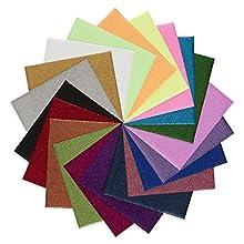 "QuuCut Glitter Heat Transfer Vinyl Bundle : 10"" x 12"", Sheets 20 Colors Assorted Pack Iron on HTV Vinyl for Any Plotter/Silhouette Cameo/Cricut & Heat Press Machine"