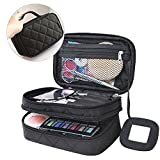 MONSTINA Black Multifunctional 2 Layer Washing Bag Beauty Kit Organizer Cosmetic with Carry Handle for Travel and Home(Black)