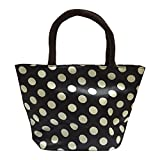 Moolecole Waterproof Picnic Lunch Bag Tote Bag Travel Grocery Bags with Zipper Organizer Box,Black,Dot