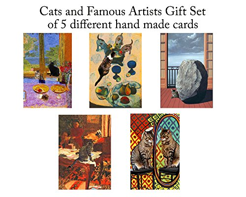 Set of 5 Cat Greeting Cards, Assorted Blank Notecards, Favorites From Famous Artists Cats, Gifts for Crazy Cat Lovers By Deborah Julian ()