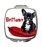 French Bulldog on a Pillow Rosie Parker Inc. CUSTOMIZABLE Compact Mirrors- Square