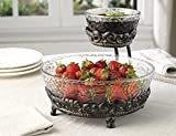 Elegant Home Chip and Dip 2 Tier Server on Antique Stand Iron Metal Stand