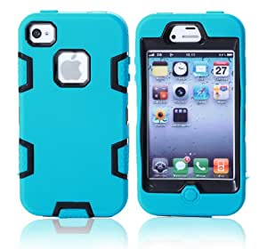 MagicSky Robot Series Hybrid Armored Case for Apple iPhone 4 4S 4G - 1 Pack - Retail Packaging - Black/Blue