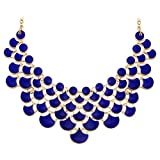 Jane Stone Fashion Bib Collar Necklace Multicolor Enamel Gold Statement Jewelry for Women(Fn0968-Royal Blue)