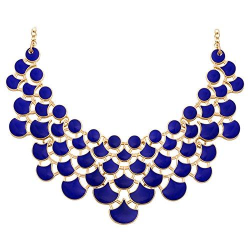 Blue and Gold Fashion Necklace Amazoncom