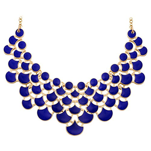 JANE STONE Fashion Bib Collar Necklace Multicolor Enamel Gold Statement Jewelry for Women(Fn0968-Royal Blue) ()