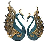 Pro-Teker European Style blue swan Sculpture set of 2 nice gifts home decoration
