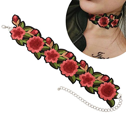 - Aysekone New Romantic Design Flower and Leaf Embroidery Chokers Necklaces Tattoo Green Red Rose Beautiful Ribbon Choker