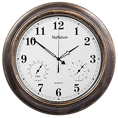 Outdoor Clocks with Thermometer and Hygrometer - 18 Inch Silent Battery Operated Metal Clock,Wall Decorative for Patio,Pool and Home