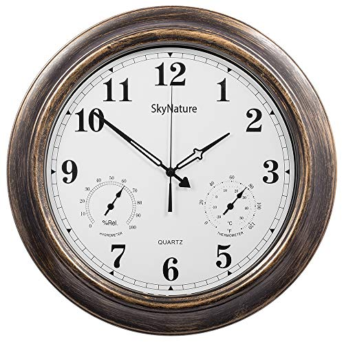 (SkyNature Outdoor Clocks, 18 Inch Large Indoor Outdoor Wall Clock Waterproof with Temperature and Humidity )