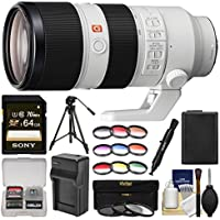 Sony Alpha E-Mount FE 70-200mm f/2.8 GM OSS Zoom Lens with 64GB Card + NP-FW50 Battery & Charger + Tripod + UV/CPL/ND8 & Color Filters Kit