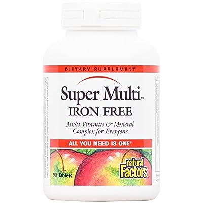 Natural Factors - Super Multi Iron Free, Multi Vitamin & Mineral Complex for Everyone, 90 Tablets