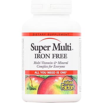 Natural Factors - Super Multi Iron Free, Multi Vitamin & Mineral Complex for Everyone, 90 Tablets