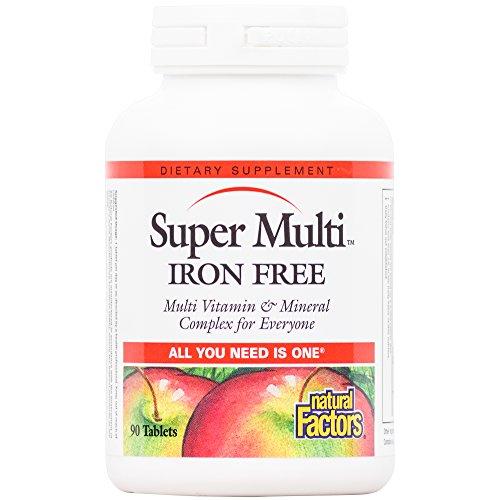 Natural Factors - Super Multi Iron Free, Multi Vitamin & Mineral Complex for Everyone, 90 Tablets - No Iron Multi Mineral Complex