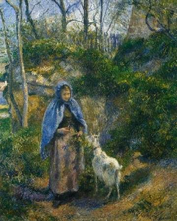 (Woman with A Goat 1881 Poster Print by Camille Pissarro (22 x 28))