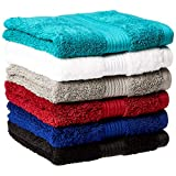 AmazonBasics Fade-Resistant Cotton Hand Towel - Pack of 6, Multi-Color Black, White, Grey, Navy Blue, Teal, Crimson