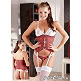 Cottelli Collection 85B/Large Red/Black Nikola Basque Set by Cottelli Collection