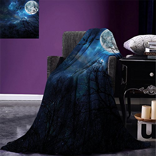smallbeefly Halloween Digital Printing Blanket Bats Flying in Majestic Night Sky Moon Nebula Mystery Leafless Trees Forest Summer Quilt Comforter Blue Black White