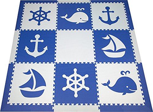 Ocean Blue Foam (SoftTiles Interlocking Foam Playmats- Nautical Ocean Theme for Baby Nursery and Children's Playroom- Nontoxic Large 2' Foam Floor Tiles 6.5' x 6.5' (Blue, Light Blue) SCNAUBS9)