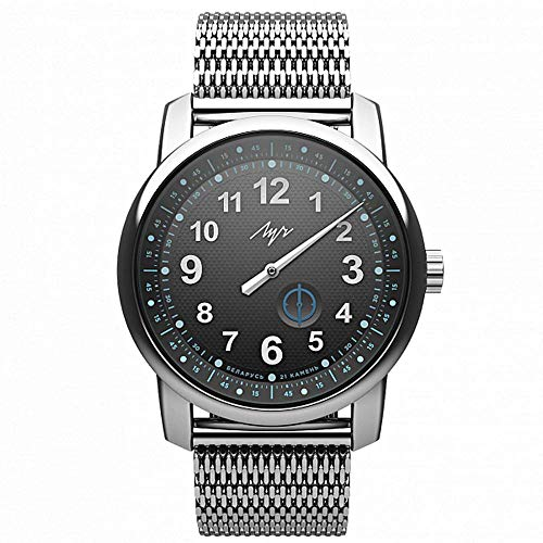 Luch One Hand Mechanical Automatic Self-Winding Wristwatch. Premium Collection. Black. 21 Jewels. 97490576