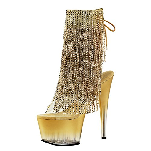 Heels-Perfect Fransen Stiefelette, Damen, Gold (Gold) Gold (Gold)