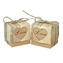 vLoveLife Cute LOVE Heart Kraft Paper Box Candy Boxes Gift Box with Burlap Jute Shabby Chic Twine Wedding Party Favor Favour 5cm x 5cm x 5cm - Pack Of 10