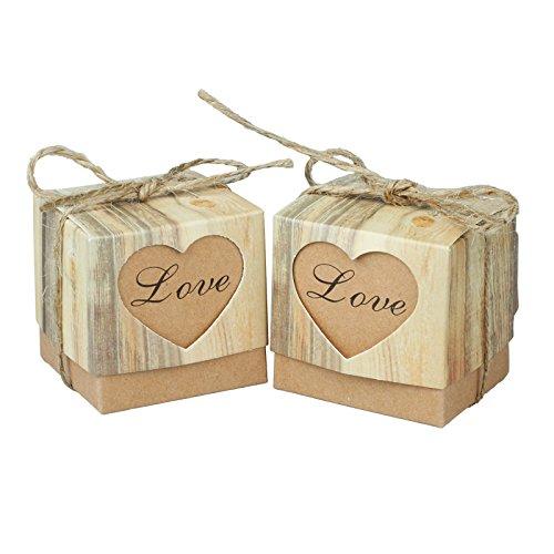 vLoveLife 50pcs Cute LOVE Heart Favor Box Kraft Paper Candy Boxes Gift Boxes + 50pcs Burlap Jute Shabby Chic Twines Wedding Party Favor Favours 5cm x 5cm x -