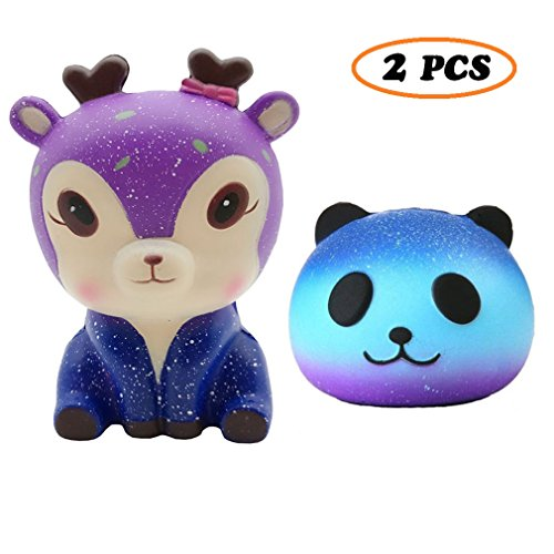 Ouflow 2 Packs Jumbo Squishies Slow Rising Galaxy Deer Star Panda Sets Squeeze Cream Scented Stress Reliever Toys for Kids Adults Gift Fun ()