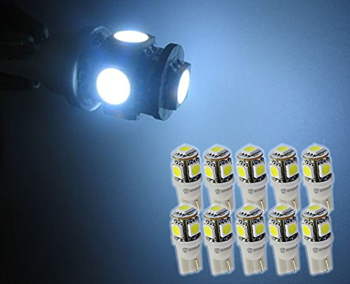Zone Tech 10x T10 194 168 2825 5-smd White High Power SUPER BRIGHT LED Car Lights - Map Water Place Tower