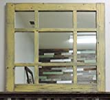 27.5'' X 27.5'' Vintage Cottage Style 9-pane Barnwood Mixed Window Pane Mirror 27.5'' X 27.5'' Varied Mirror Sizes