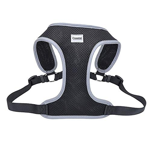 "Coastal Pet Comfort Soft Reflective Wrap Adjustable Dog Harness - Black Large - 28-36"" Girth - (1"" Straps)"
