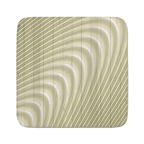 Cozy Seat Protector Pads Cushion Area Rug,Modern Decor,Futuristic Wavy Spherical Disc Band Lines Expanding Drop like Minimalist Print,Eggshell,Easy to Use on Any Surface