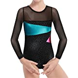 Girls Long Sleeve Ballet Gymnastic Dance Leotard Red Stripe Mermaid Sparkly Cross Dancing Training Costumes for 2-10Y Little Girls (Black, 160(12-13T))