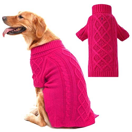 PUPTECK Classic Cable Knit Dog Sweater - Pet Turtleneck Coat Puppy Winter Clothes Pink Medium