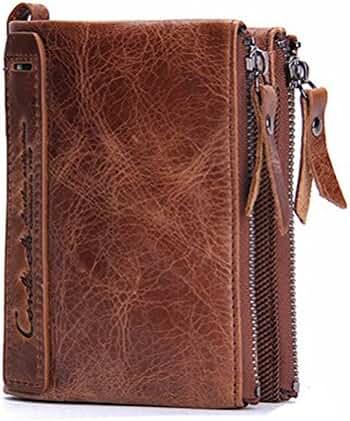 Men Coin Purse Bifold Wallet Genuine Leather Zipper Change Purse Coin Pouch